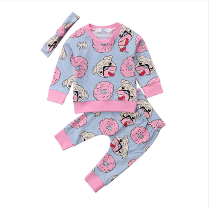 95527f651fed9 2019 Baby Clothing Sweet Newborn Baby Girl Outfit Clothes Pugs Donuts Lemon  Tops Leggings Pant Headband Set From Xunqian, $36.78 | DHgate.Com