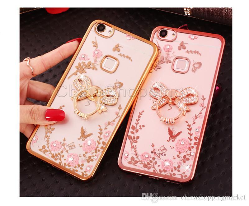 Bling Elmas Yüzük Tutucu Kılıf Secret Garden Çiçek Kristal TPU Kapak iPhone 11 Pro Max Xr Xs 8 7 6S Artı Samsung S8 S9 Artı Not 9 8