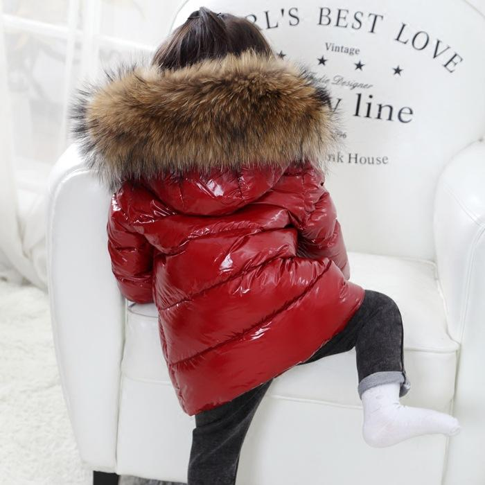 4520752cf FTLZZ Shiny Coat Winter Kids Real Large Raccoon Fur Collar Duck Down Jacket  2018 Baby Boy Girl Thicken Snow Down Parkas