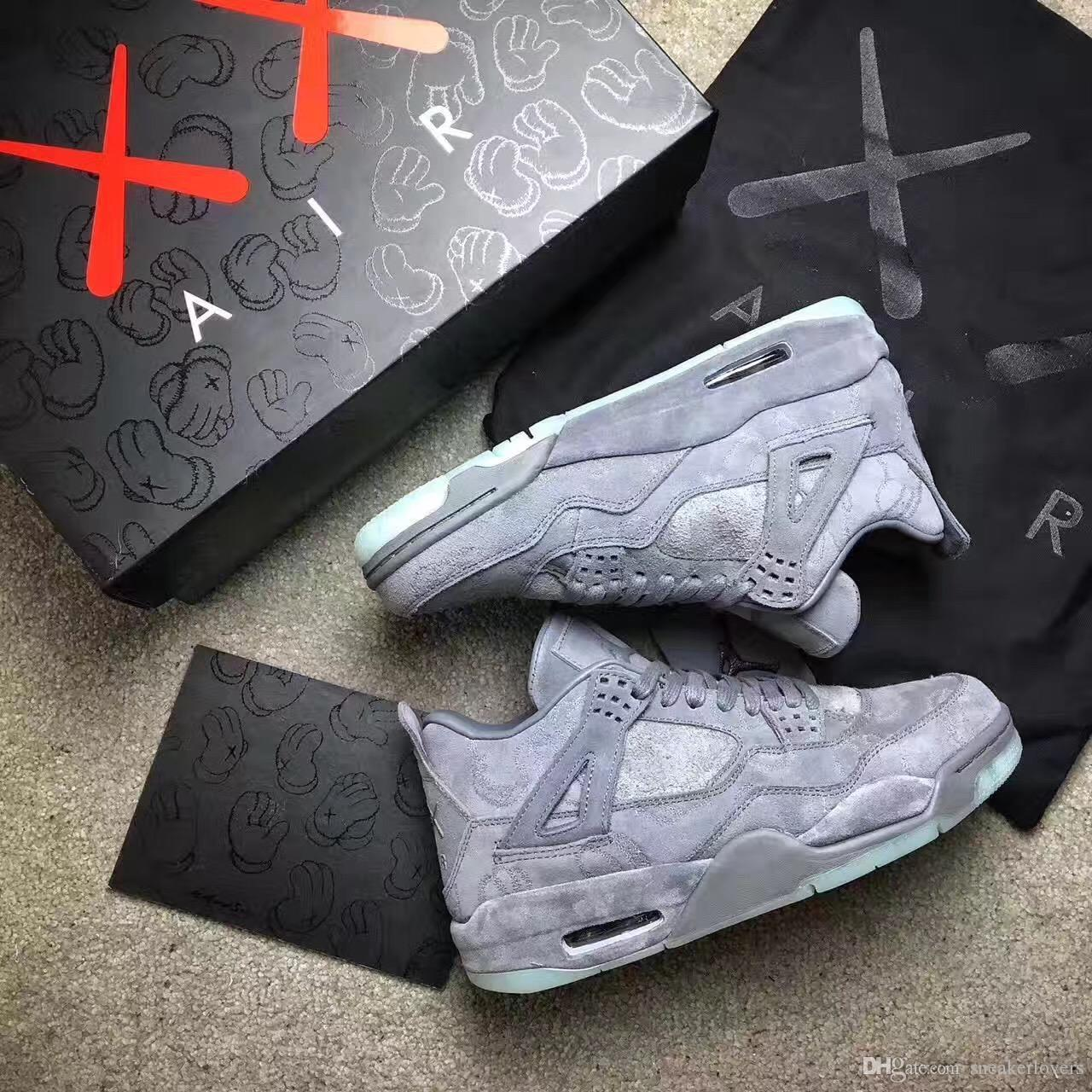 2f5a42dbfae48b WithBox KAWS X Shoes 4 4s XX Kaws Cool Grey White Glow Men Basketball Shoes  White Blue Black Sports Sneakers Discount Shoes Shoe Shops From  Discountsneaker