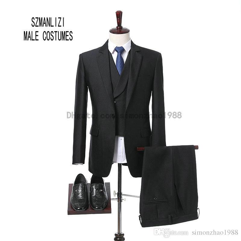 Acheter 2018 Marque Hommes Marié Porter Brillant 3 Pièces Costume Noir De  Mariage Marié Groomsman Costumes De Mariage Tuxedo Slim Fit Fumer Masculino  ... fb145a10d82