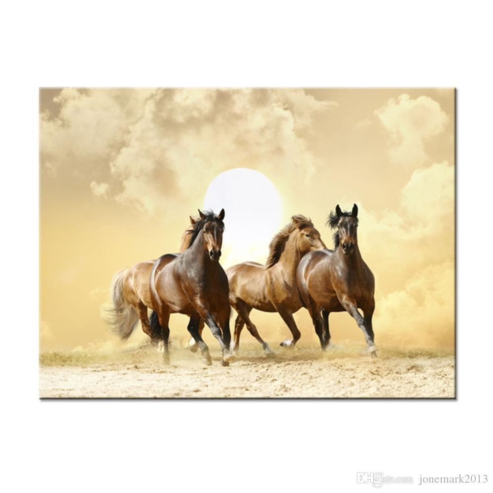 Холст HD печать живопись Home Decor 1 шт./шт. животных работает прекрасные лошади фотографии закат плакат гостиная стены искусства рамки