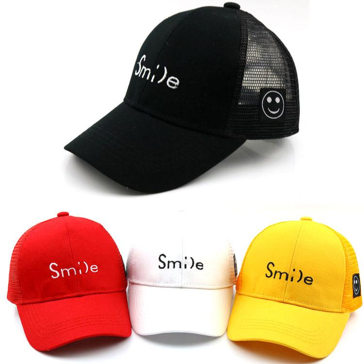 c669e6bc022 Kids Baseball Caps Children Mesh Ball Cap Adjustable Girls Boys Baseball  Cap Summer Outdoor Sports Hat Smile Ball Cap Wholesale Hats From Shunhuico