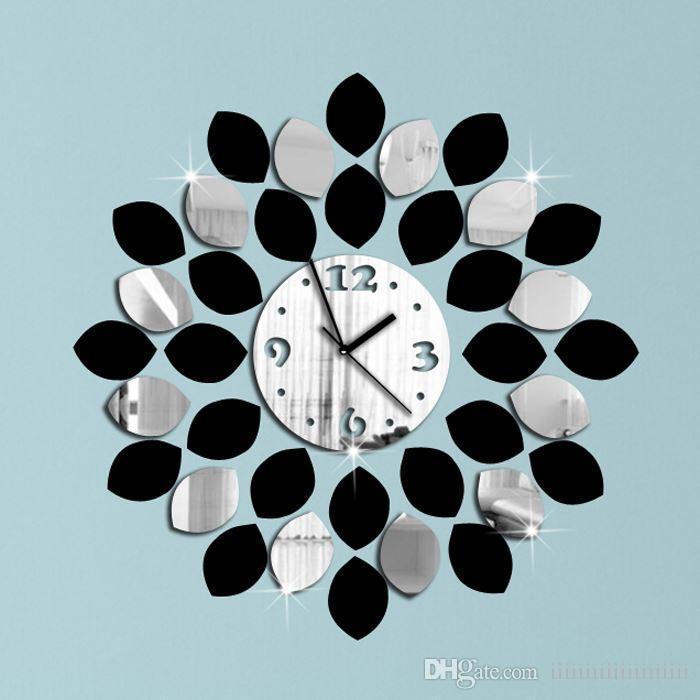 Big Leaf Black And Silver Wall Clock