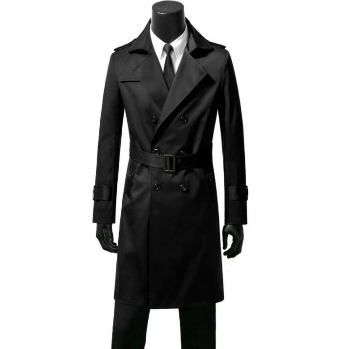 35bcb2a00 Double-breasted mens trench coats belt man long coat men clothes slim fit  overcoat long sleeve black blue khaki brown autumn