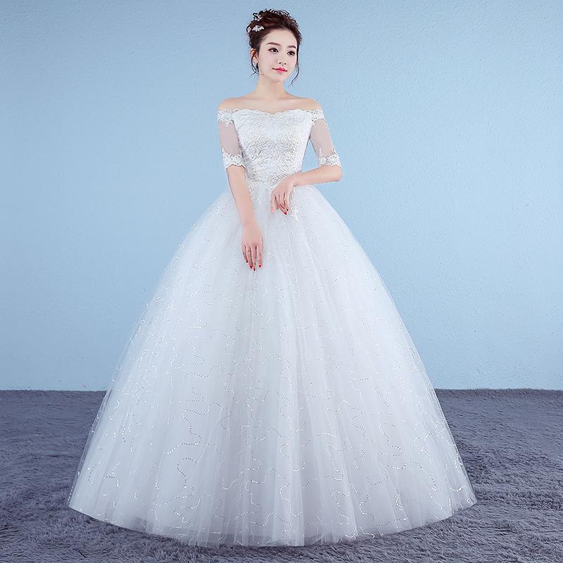 Personalizado Branco Princess Vestidos de casamento simples 2.018 apliques de renda meia manga V-Neck Vestido de Noiva Vestido de Noiva Real Photo