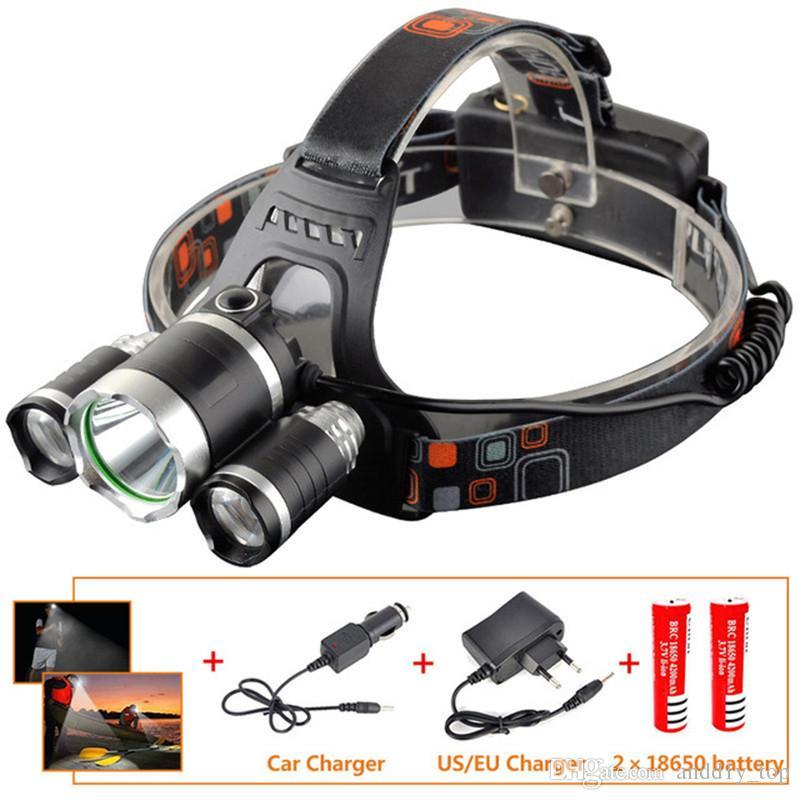 LED faro del faro della luce della testa della lampada della nuova del CREE XML T6 + 2R5 torcia 4Modo + charger + US Car / UE della batteria 2x18650 luci di pesca