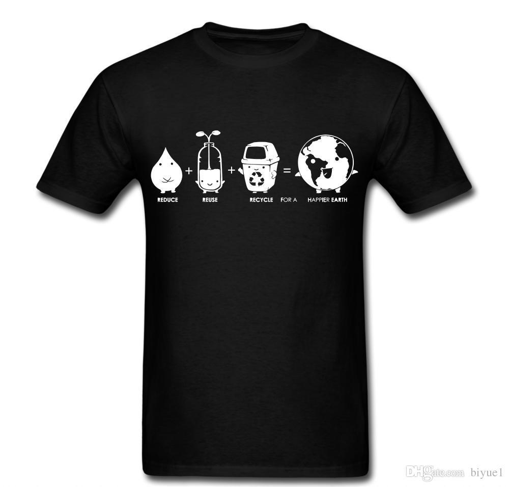067ed05eb Compre Reducir Reutilizar Reciclar La Tierra Más Feliz Camiseta Unisex  Camiseta De Calidad Superior Hombres O Cuello Camiseta Superior A $11.78  Del Biyue1 ...