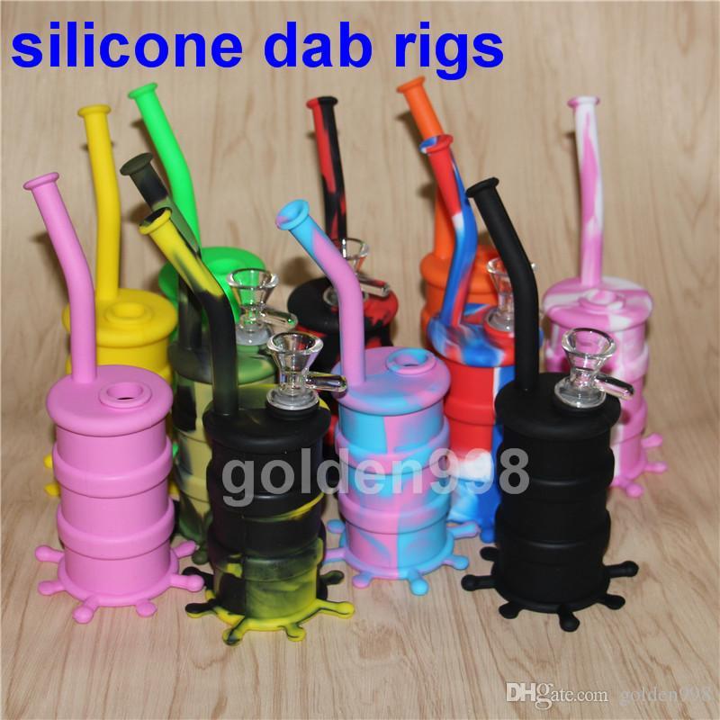 portable narguilé silicone dab rigs verre bong silicone tuyaux d'eau shisha narguilé incassable narguilé, silicone nectar collecteur plate-forme pétrolière