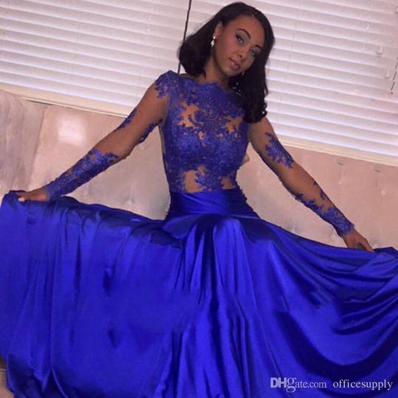 Azul Royal Lace Sereia Vestido de Noite Prom 2018 Sexy Longo Elegante Plus Size Ver Através de Sereia Manga Comprida Vestidos Africanos