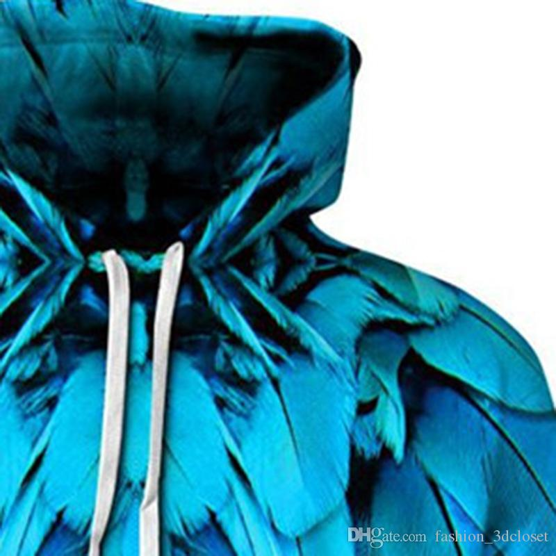 Blue Feathers 3D Hoodie Sweatshirt Plus Size Hip Hop Hoodies Tracksuit Cool Print Sweatshirts Elegant Couple Wear Streetwear