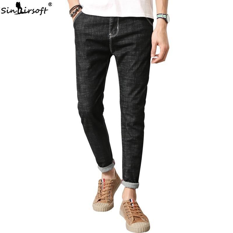 2c3f6595300e0 Acheter Hommes Skinny Hommes Noir Mans Strech Pas Cher Jeans Uomo Pantalon  Droit Stretch Jeans Slim Denim Pantalon Jean Homme Metrosexual De $33.27 Du  ...