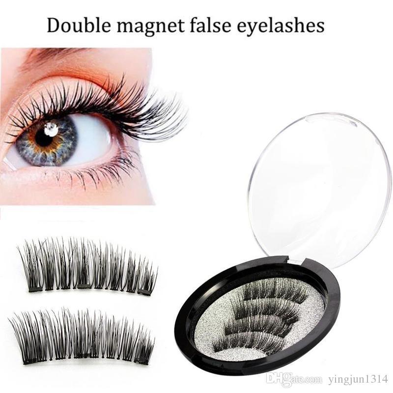 Pestañas magnéticas 3D hecho a mano visón imán reutilizable pestañas falsas Triple Natural imán de pelo suave pestañas / 2