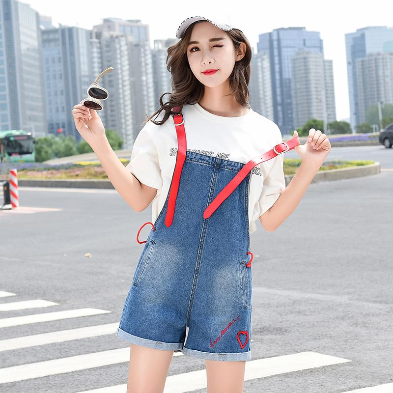 c4fbe477e838 2019 Summer Ladies Denim Overalls Shorts High Waisted Wide Leg Short Jeans  Loose Jumpsuit Shorts Korean Fashion Casual Embroidery New From  Beautyjewly