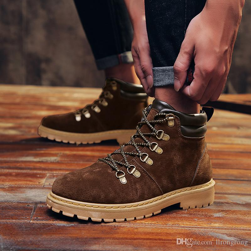 4bd68b87990 Autumn winter hot style Martin boots, high-top British style leather men s  shoes retro rhubarb boots trend army boots men s bootsT386
