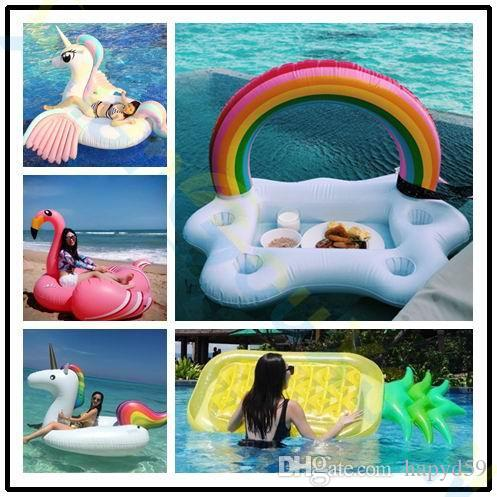 2019 Ice Bar Clouds Rainbow Drink Holder Pool Red Wine Inflatable