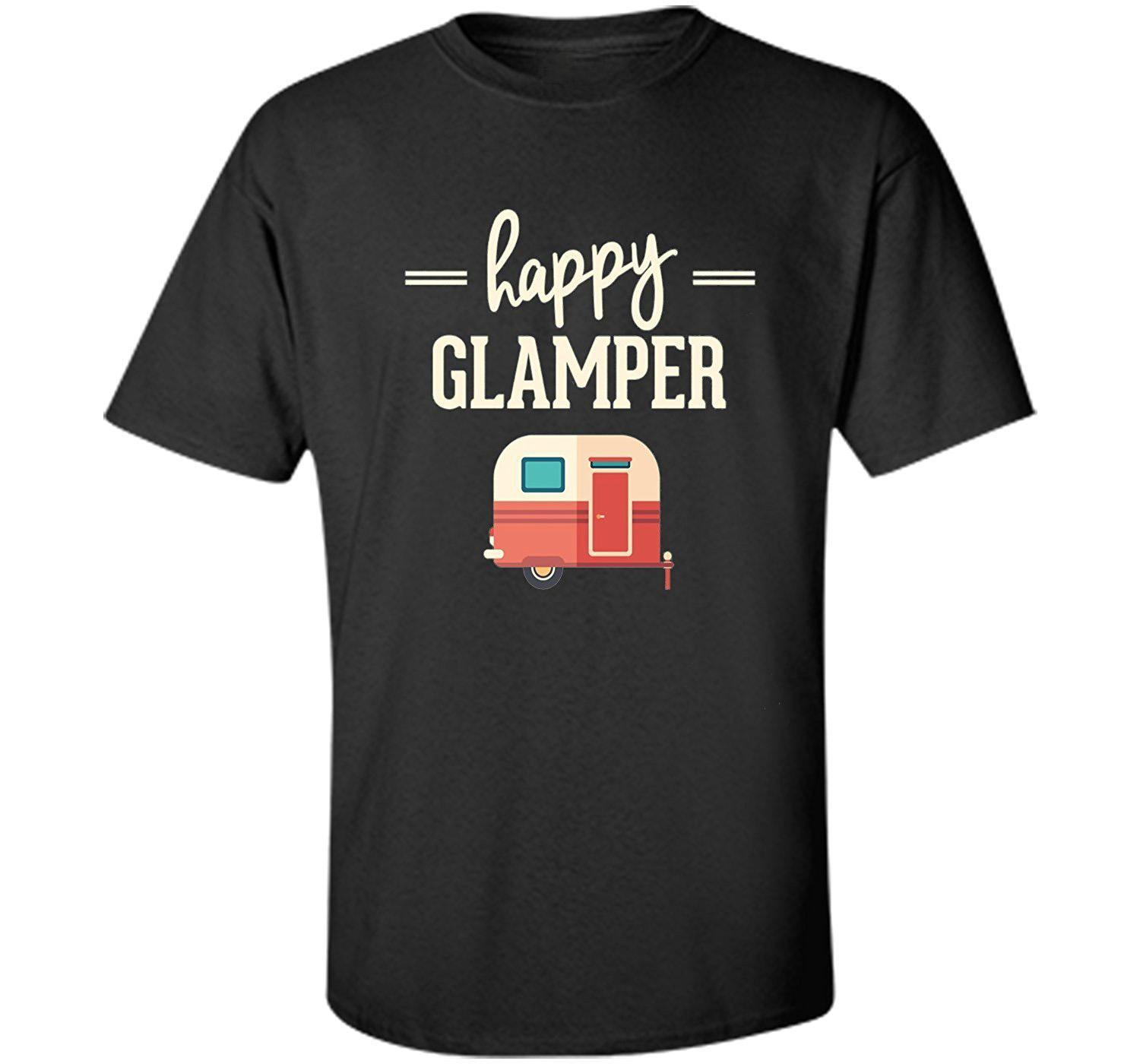 Wholesale discount Classic Cotton Men Round Collar Short Sleeve Happy Glamper Glamping , Campings T shirt