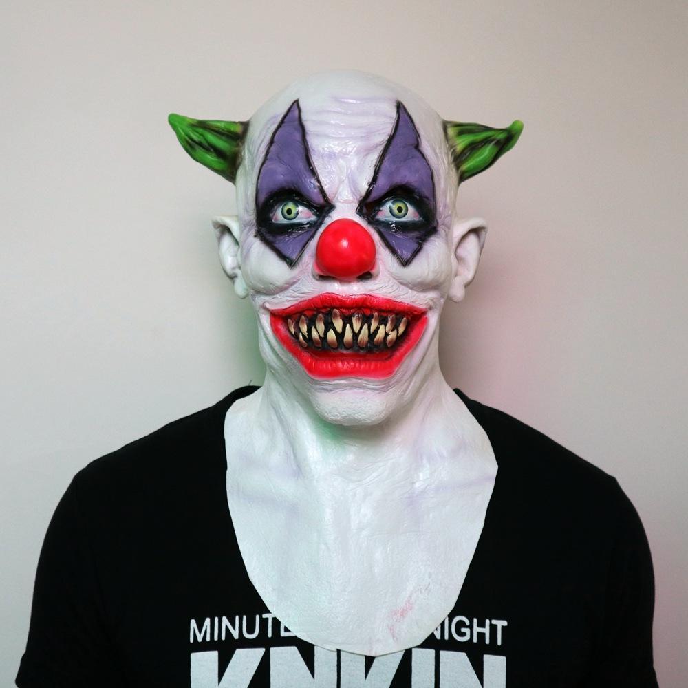 evil scary halloween joker clown mask rubber latex full face green