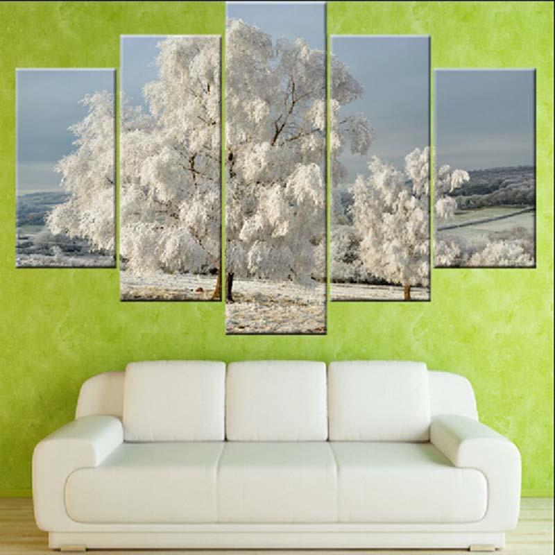 Modular Pictures Home Decor 5 Pieces Snow Tree Scenery Painting On Canvas Print Modern HD Posters Wall Art For Living Room Frame