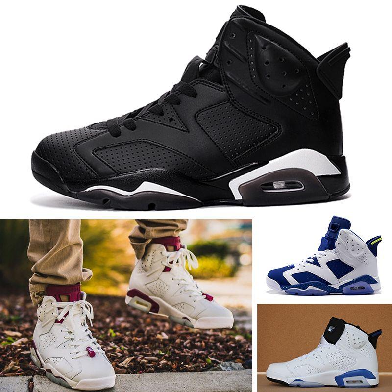 online store 3e4b7 73b2f Acheter Nike Air Jordan Retro 6 Chaussures De Basket Ball 6 6s Chaussures  Pour Hommes UNC 3M Chat Noir Infrarouge 23 Carmine Maroon Oreo Baskets De  Sport De ...