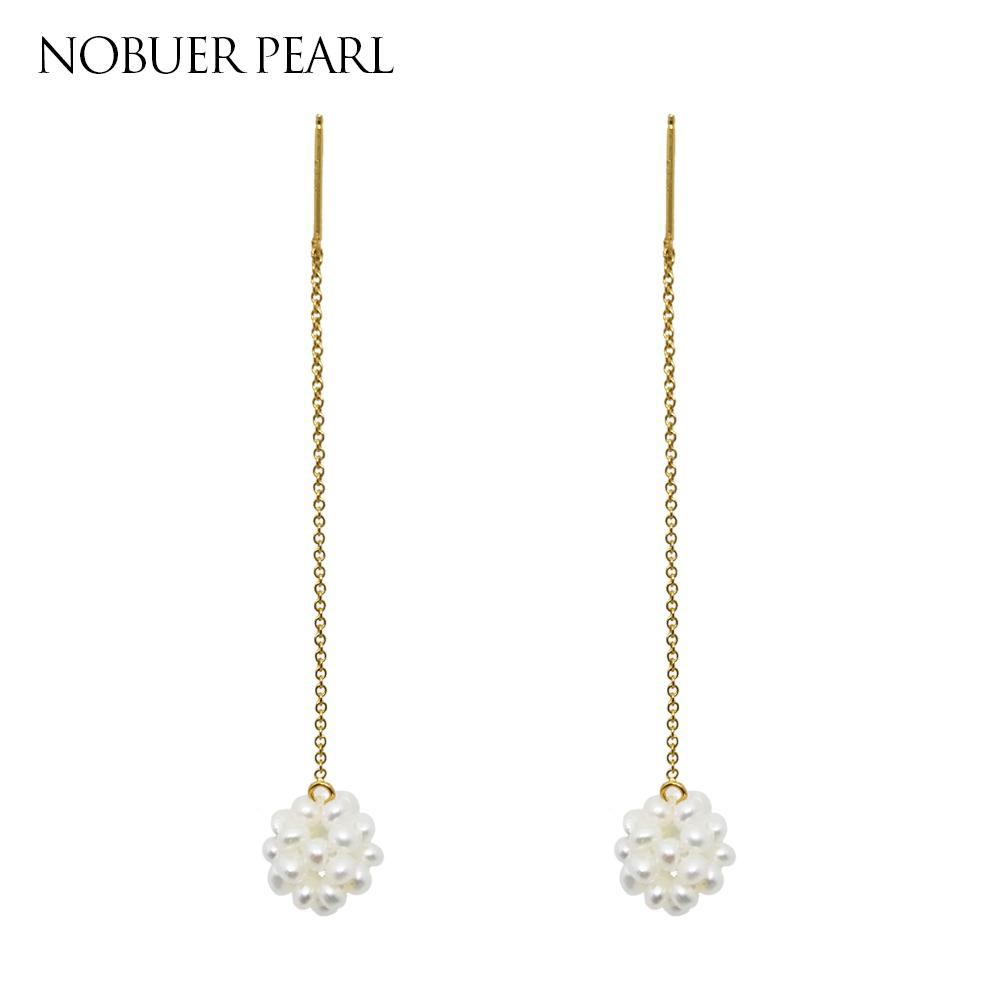 5662ec2d9098f Nobuer DIY Long Chain 14K Gold Jewelry Pearl Drop Earring For Women With  Pearls Earrings Hanging