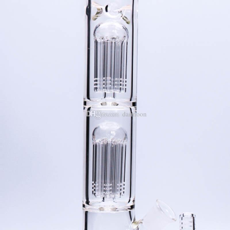 """Heavy glass water bong double eight arms tree perc glass water pipe 17.5"""" tall dab rig big bong"""
