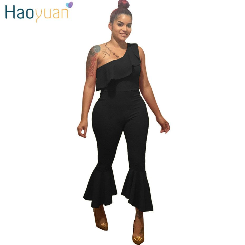 95ec2ec51cd2 Wholesale Ruffle One Shoulder Sexy Jumpsuits Club 2018 New Summer Overalls  Bodycon Boot Cut Pants Elegant Rompers Womens Jumpsuit Online with   47.71 Piece ...