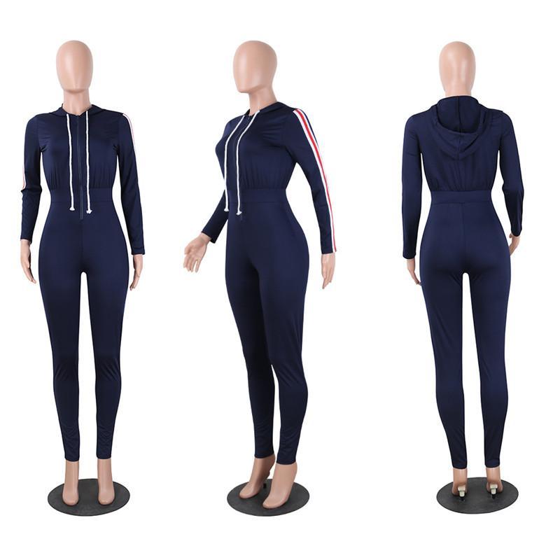 SEXEMARA полоса Сплайсированные Сексуальная Bodycon комбинезон уличная с капюшоном глубокий V шеи половина молнии женщины комбинезоны Комбинезоны C35-AE56