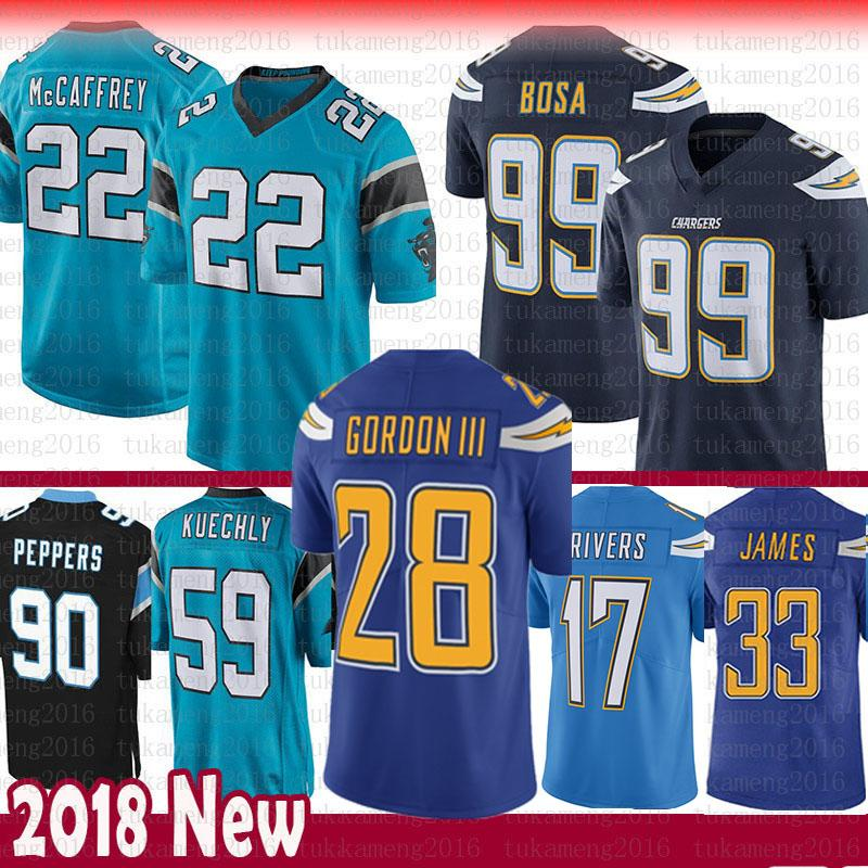 new concept ddfca f0b37 Carolina 22 Christian McCaffrey Panthers 59 Luke Kuechly Jersey 28 Melvin  Gordon Peppers Chargers Philip Rivers 99 Joey Bosa 33 Derwin James