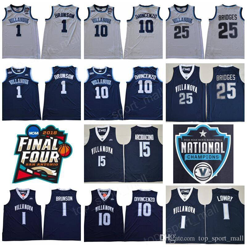 a8aa281ab537 2019 NCAA Basketball Final Four Villanova Wildcats Jersey 1 Jalen Brunson  10 Donte DiVincenzo 25 Mikal Bridges White Navy Champions RVM Patch Men  From ...