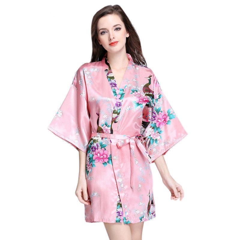 c494322c2c Acheter Femmes Soie Kimono Court Robe De Nuit Satin Peignoir Lingerie Sexy  Vêtements De Nuit De Mariage Robes De Demoiselle D honneur Casual Homewear  S XXL ...
