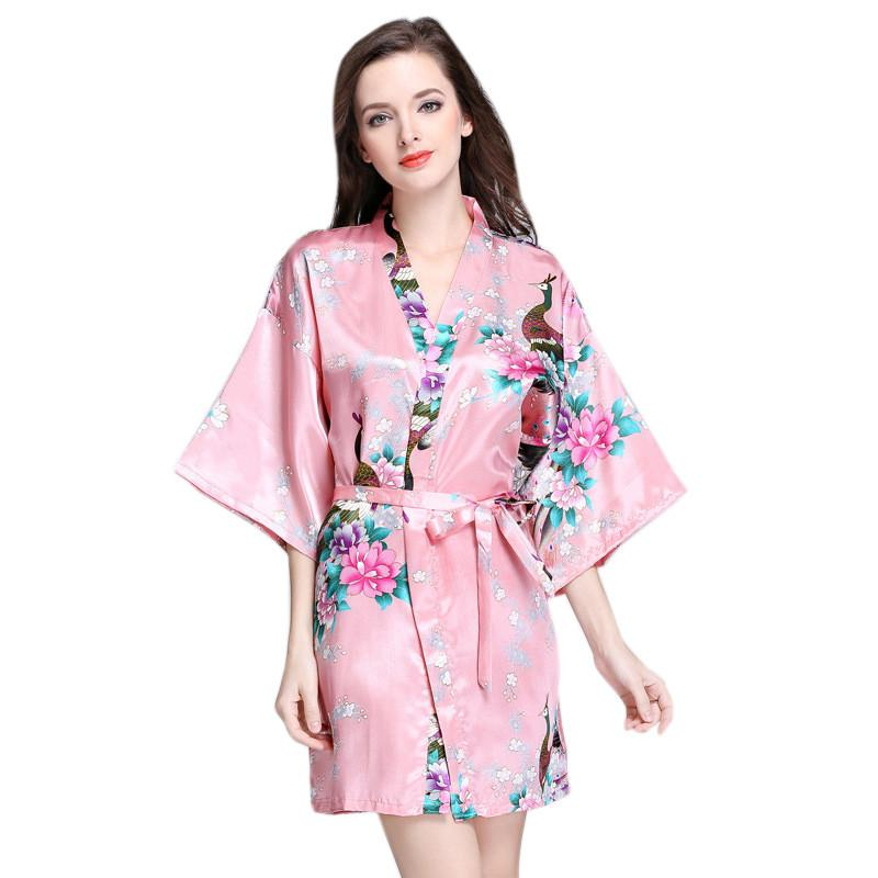 741fb0d3d2 2019 Women Silk Kimono Short Night Robe Satin Bathrobe Sexy Lingerie  Sleepwear Wedding Bridesmaid Robes Casual Homewear S XXL From Sweatcloth