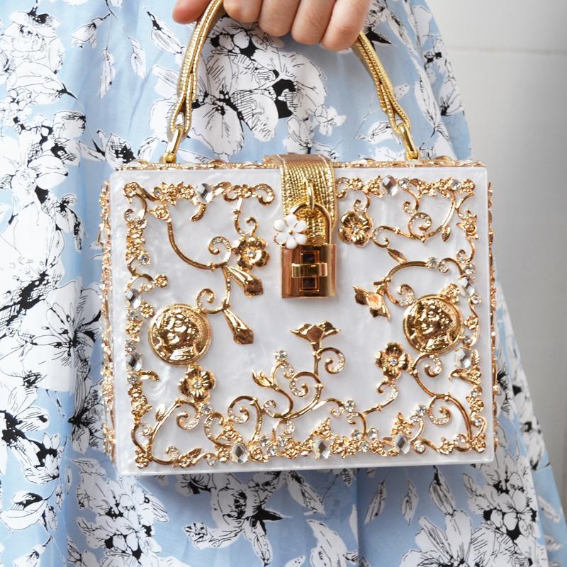 656f950ed3 Fashion Box Evening Bag Diamond Flower Clutch Bag Hollow Relief Acrylic  Luxury Handbag Banquet Party Purse Women S Shoulder Bag Y1892608 Leather  Bags For ...