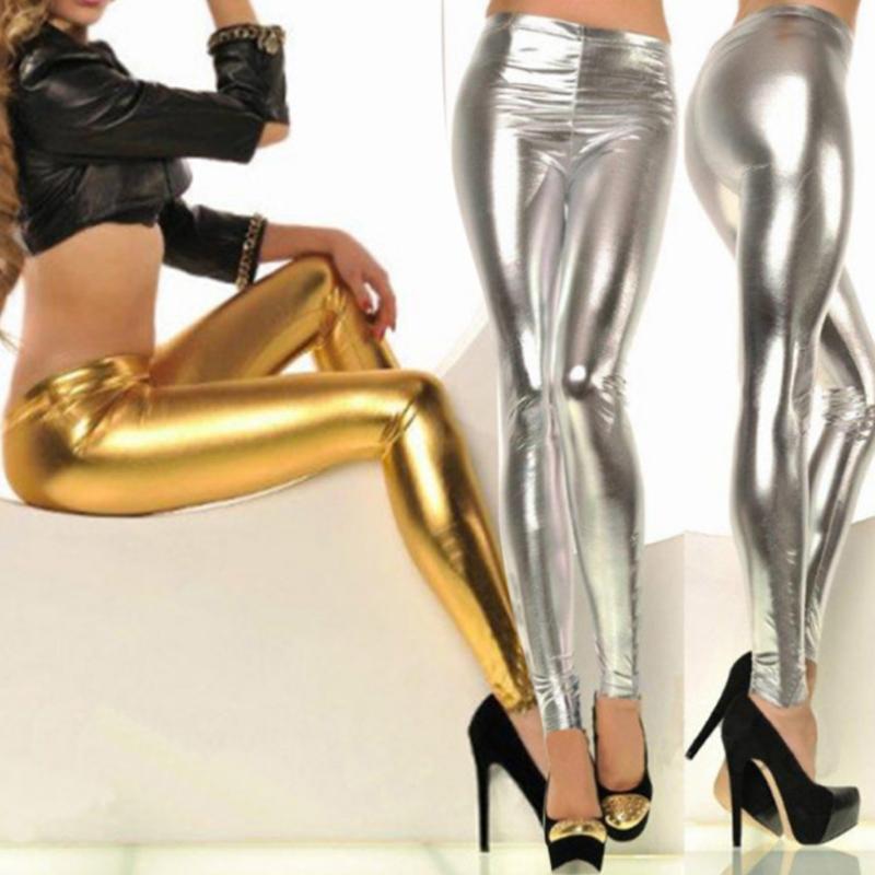43ce6638acff4d Großhandel 2017 Neue Frauen Sexy Leggings Kunstleder Stretch Legging Hohe  Taille Leggings Junioren Hosen Gold Und Silber Von Masue, $24.99 Auf  De.Dhgate.