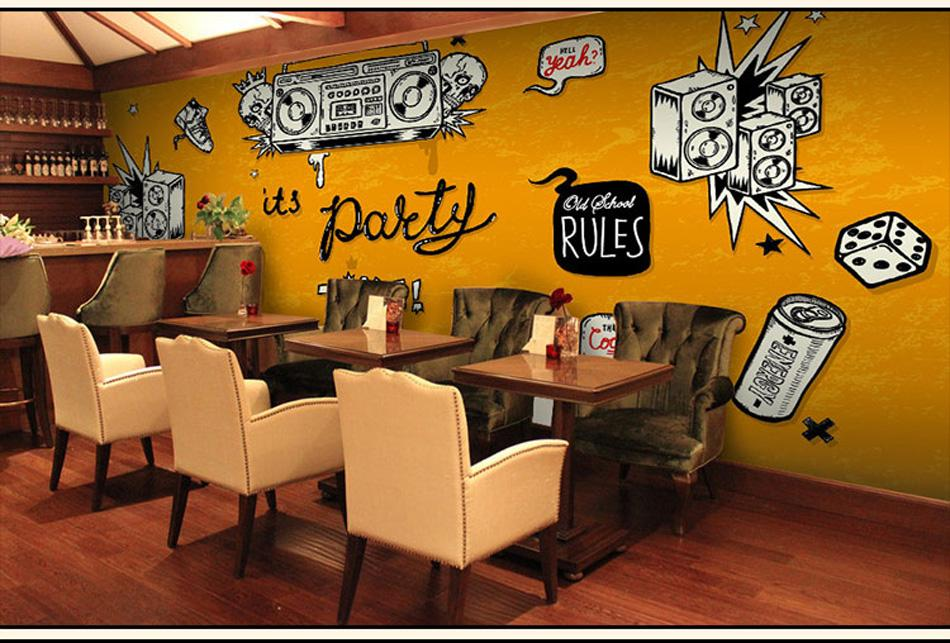 Shinehome Large Custom Wahable Wallpaper Rock N Roll Music 3d Cafe Bar Modern Living Room Photo Wall Murals Home Contact Paper Free Animated