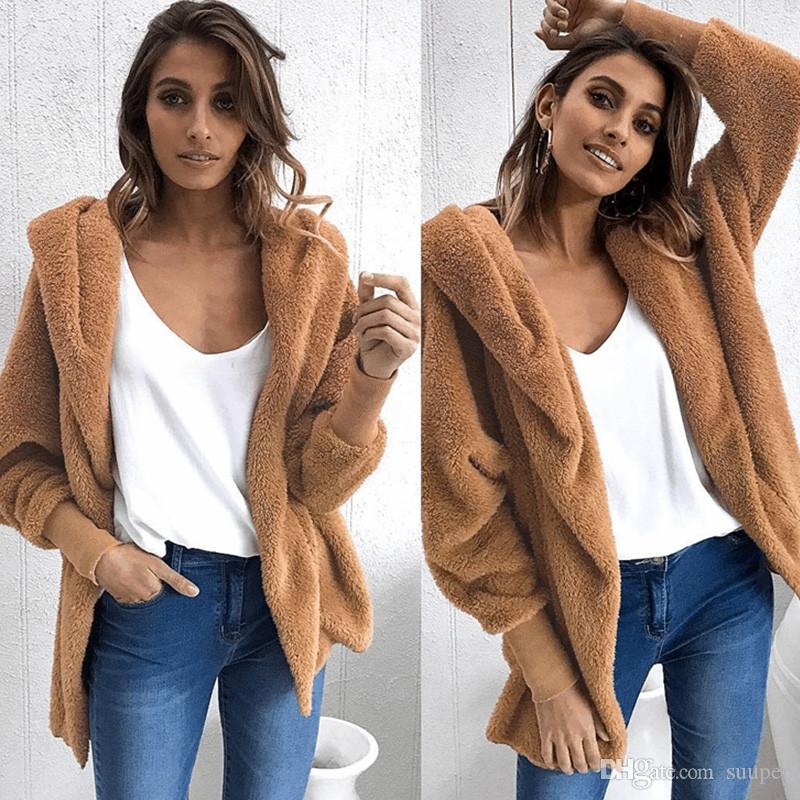 0aabe3118 2019 Faux Fur Hoodie Knitted Jacket Coats Women 2018 Autumn Winter Casual  Long Sleeve Warm Coats Streetwear Oversize Coat Female From Suuper