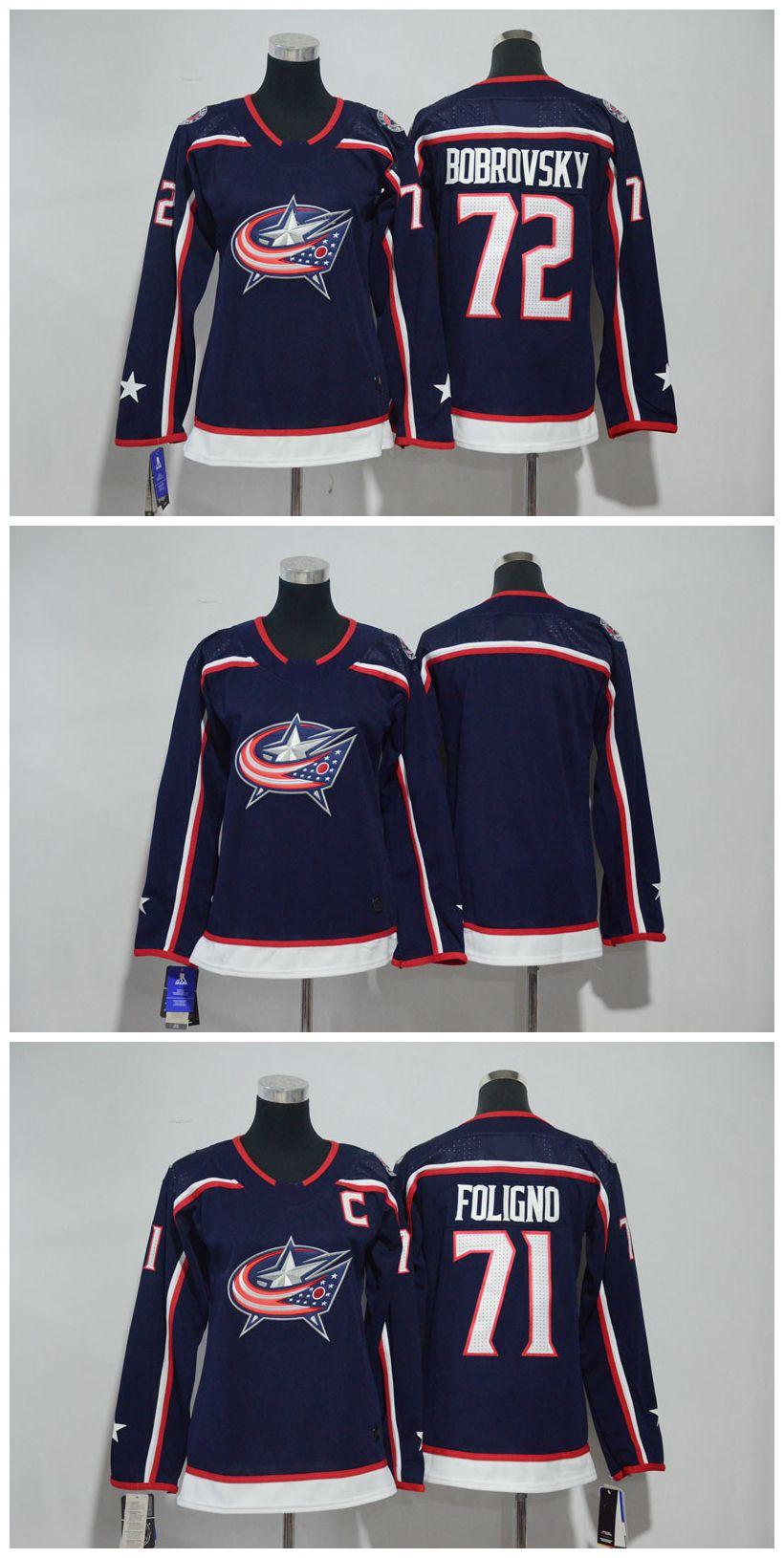 2018 Women Columbus Blue Jackets Jersey 71 Nick Foligno 72 Sergei Bobrovsky  Jersey Blank No Name Number Stitched Ladies Hockey Jerseys Edmonton Jerseys  ... 400a9e638