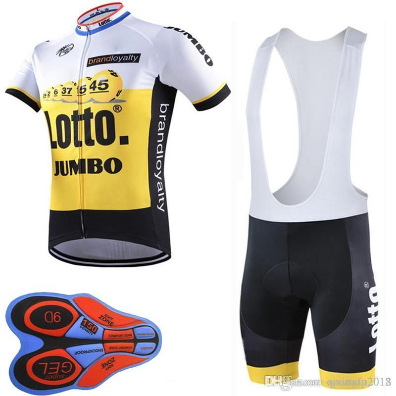 2018 Lotto Team Men s Short Sleeve Bib Shorts Sets Cycling Jersey Ciclismo  Summer Bicycle Bike Clothing 9D Gel Pad F2297 Lotto Cycling Jersey Ropa  Ciclismo ... a2e05f6df