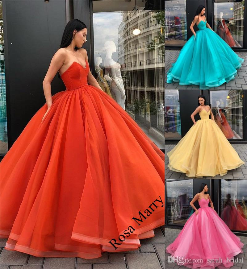 Princess Coral Yellow Ball Gown Quinceanera Prom Dresses 2018 Corset ...