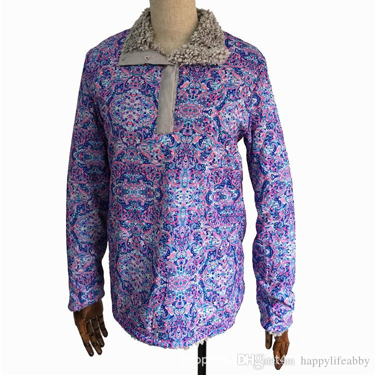 23562640fb0 Winter Frosty Soft Fleece Lilly Pulitzer Sherpa Pullover Reversible Lilly  Inspired Sherpa Sweatshirt Outwear Jacket Pullover Button Collar UK 2019  From ...