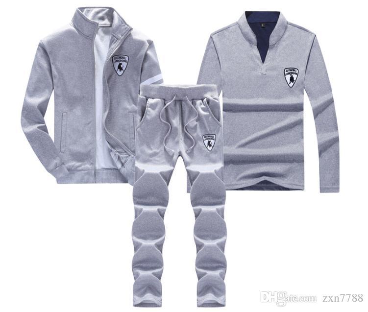 2018 nouveau costume trois pièces sportswear pour hommes d'automne et d'hiver de mode Slim pull de mode hommes