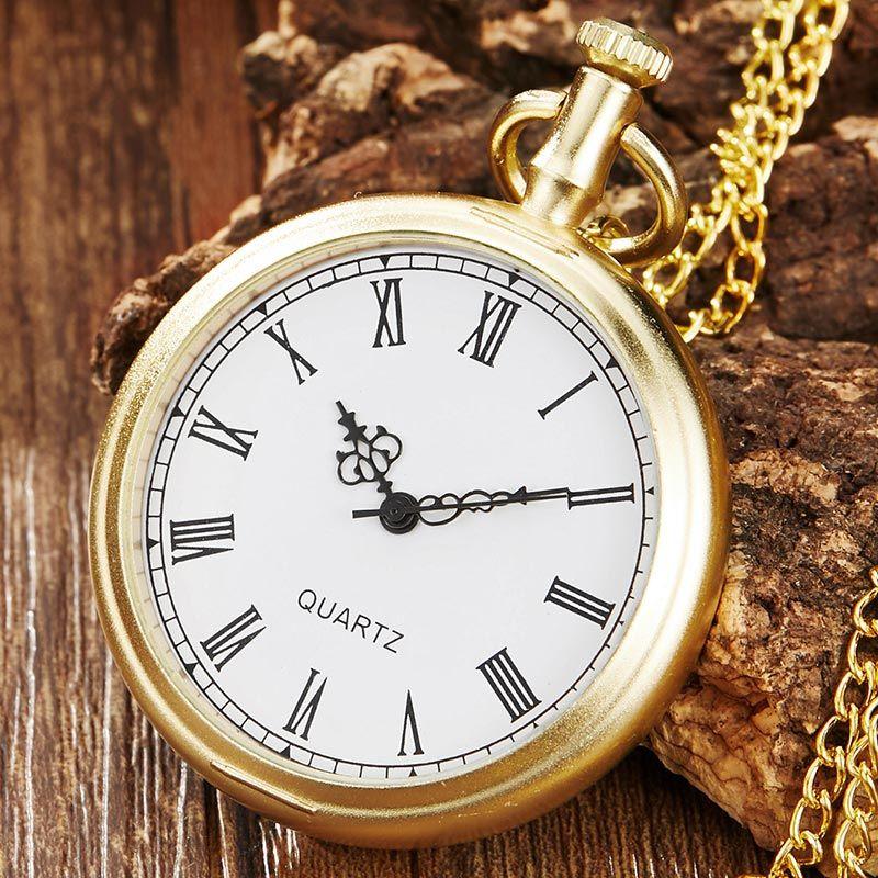d9e069ee3ec Compre Projeto Simples Do Vintage Dourado Roman Dial Steampunk Quartz  Relógios De Bolso Das Mulheres Dos Homens Colar Relógios Retro Com Cadeia  FOB De Tuosu ...