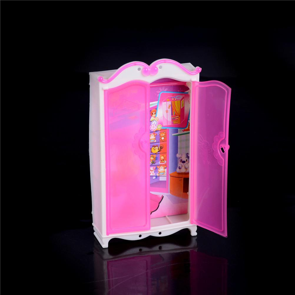 2018 New mini Princess Bedroom Furniture Closet Wardrobe For Doll Pink Wardrobe Closet For s Doll Girls Toy