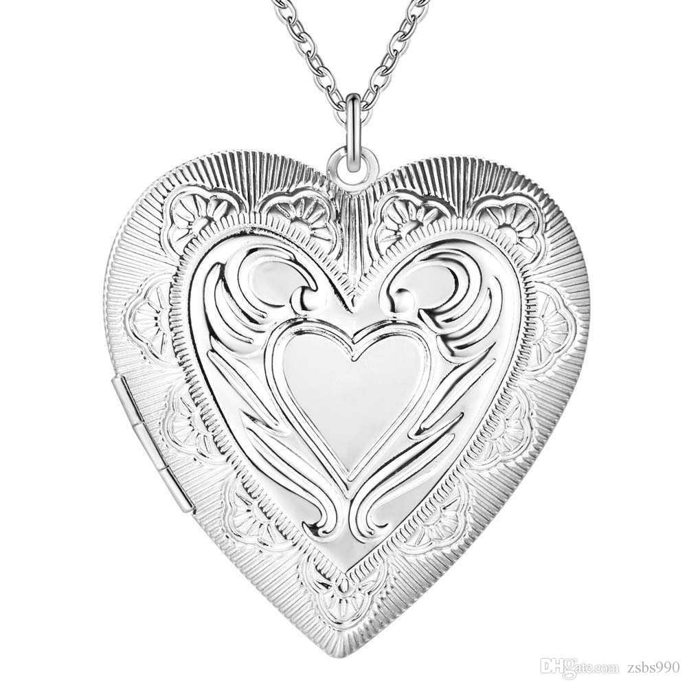 Prix Usine En Gros 925 Sterling Argent Plaqué Coeur Pendentif Médaillon Collier De Mode Bijoux pour Femmes Saint-Valentin Livraison Gratuite