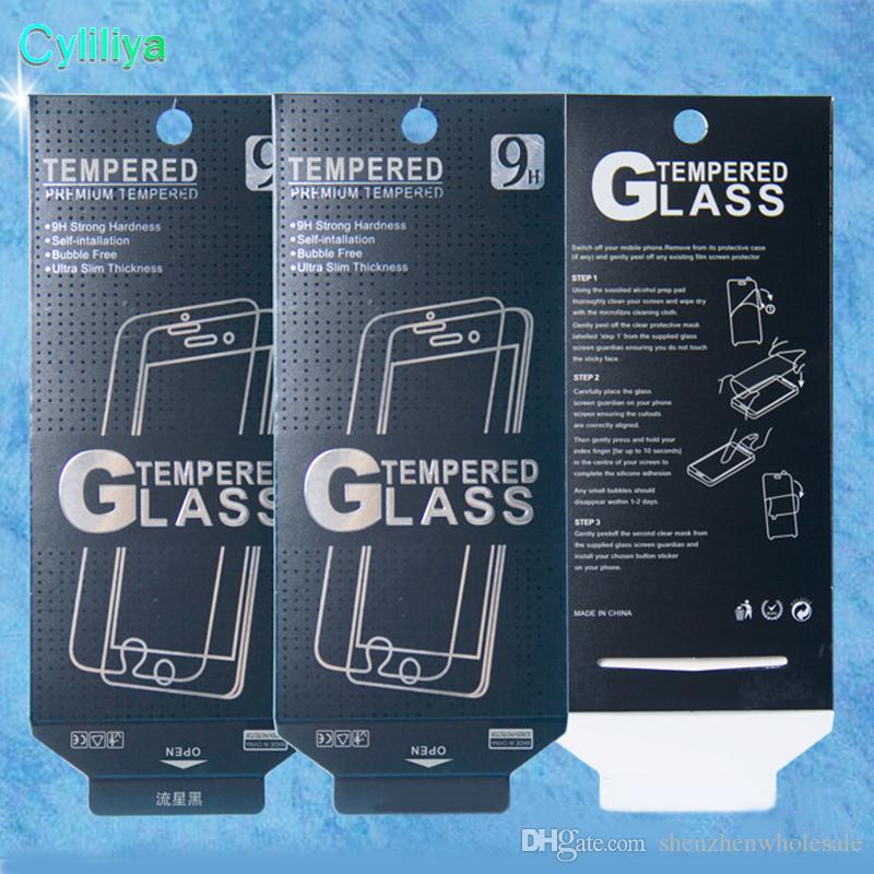 Pantalla vacía paquete al por menor cajas de papel de embalaje de visualización para Premium vidrio templado 9H 2.5D para el iPhone 5 6 7 Plus