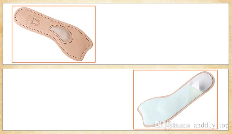 Lady partial shoe pads leather insoles comfortable thickened arch support calfskin shoe-pad for Peep Toes High heels Women shoes