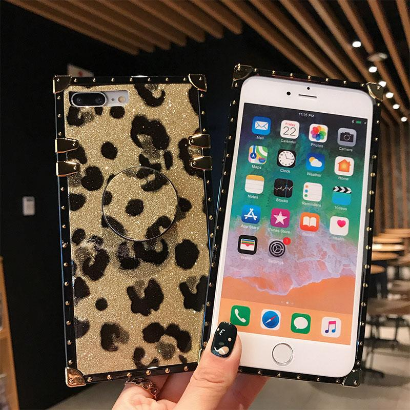 e650acc8cc0af Wholesale Luxury Brand Square Leopard Print Case For Iphone X XS Max XR With  Grip Stand Holder Shockproof Back Cover For Iphone 6 7 8 Plus Designer Cell  ...