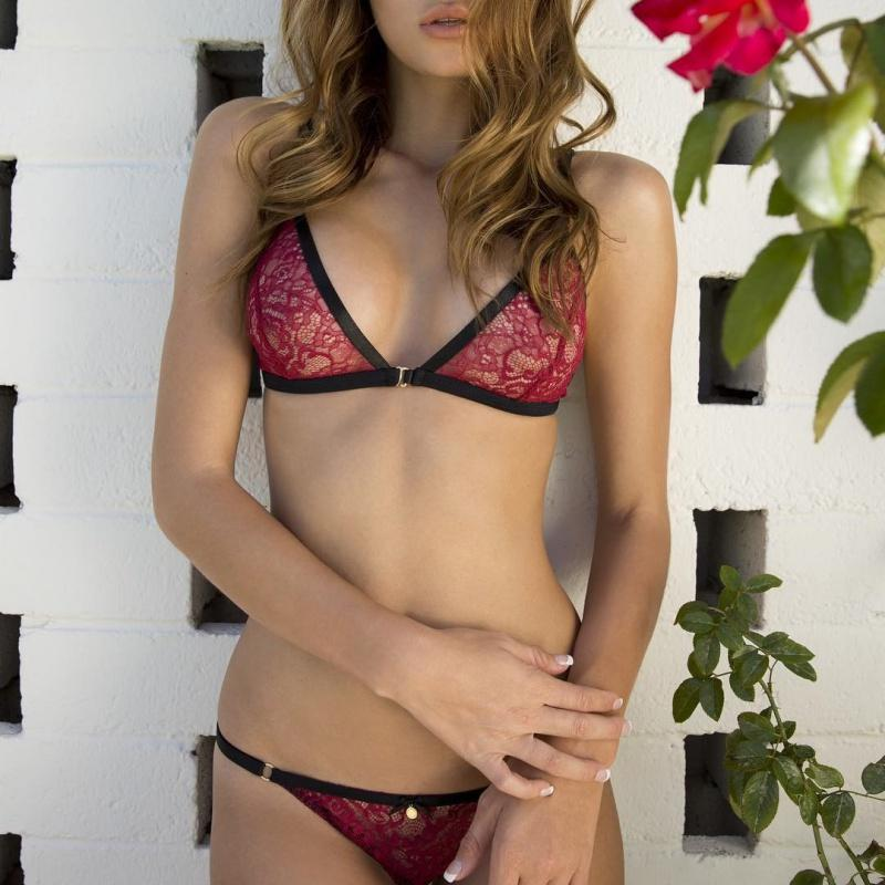 140f5bad36851 ETOSELL Soft Padded Lace Bras Sets Perspective Sexy Bras + Seamless  Underwear Suits Solid Dark Red Lingerie suits
