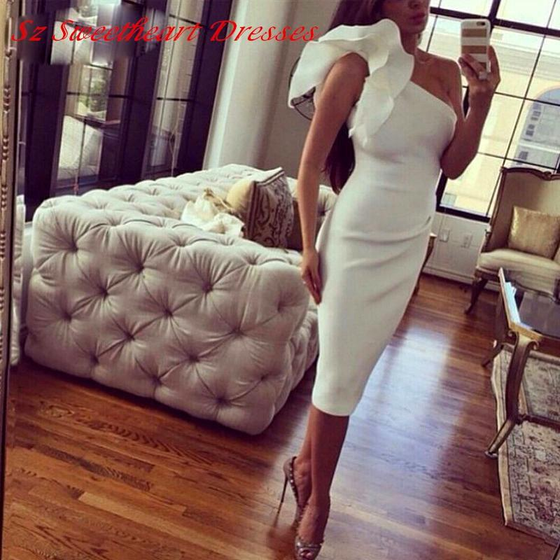 hot sexy Simple one shoulder ruffles white short prom dresses 2018 new fashion vestido de festa cheap dress party evening gown