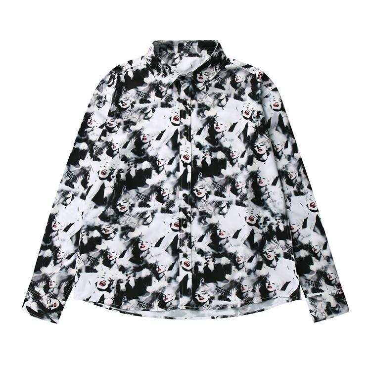 2018 nuevas camisas de hombre Estilo de la moda Telas de algodón importadas  Patrones de costura de caracteres Variedad de colores Flojo